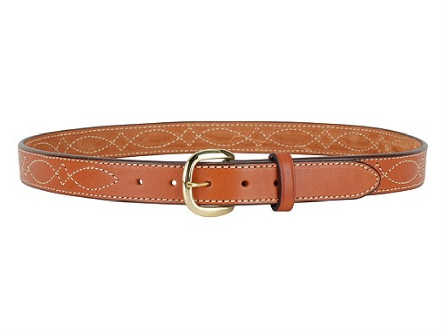 "Hunter 5801 Pro-Hide Belt 1-1/4"" Brass Buckle Stitched Leather Brown 42"""