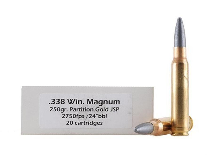 DoubleTap Ammunition 338 Winchester Magnum 250 Grain Nosler Partition Gold Box of 20