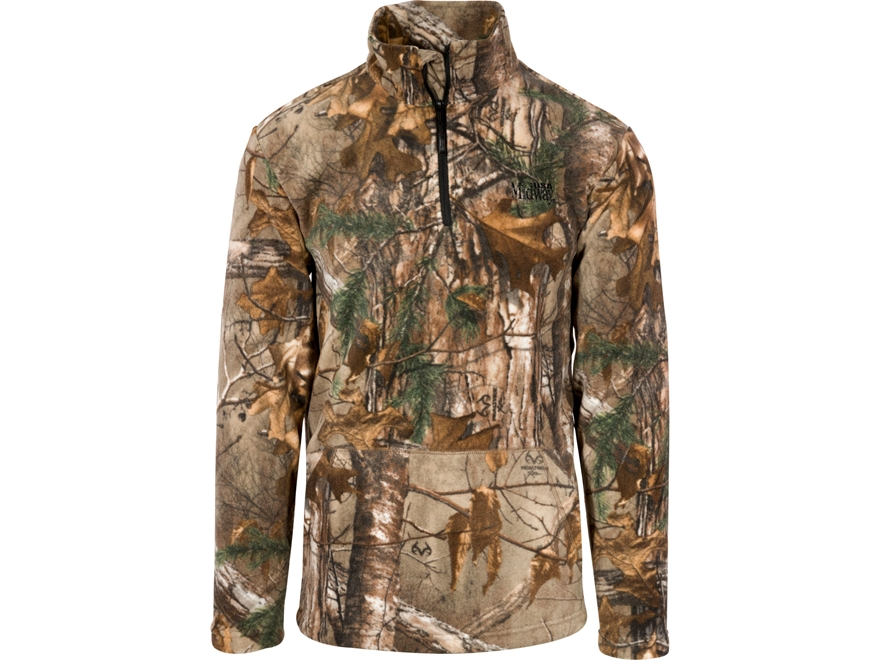 MidwayUSA Men's Spike Camp Fleece 1/4 Zip Pullover Realtree Xtra Camo