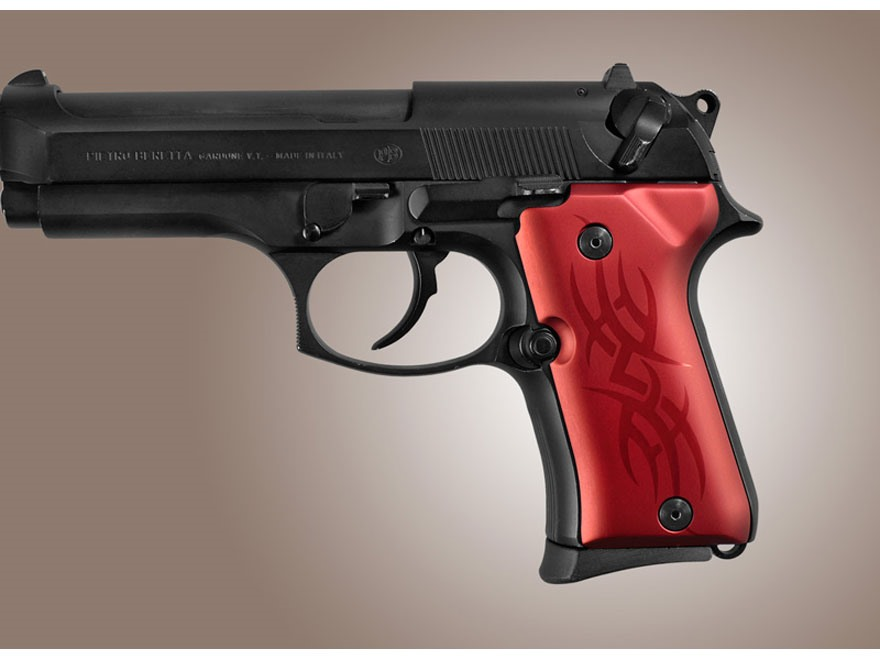 Hogue Extreme Series Grip Beretta 92FS Compact Tribal Aluminum Red