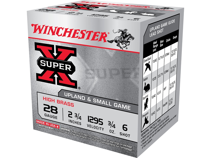 """Winchester Super-X High Brass Ammunition 28 Gauge 2-3/4"""" 3/4 oz #6 Shot"""