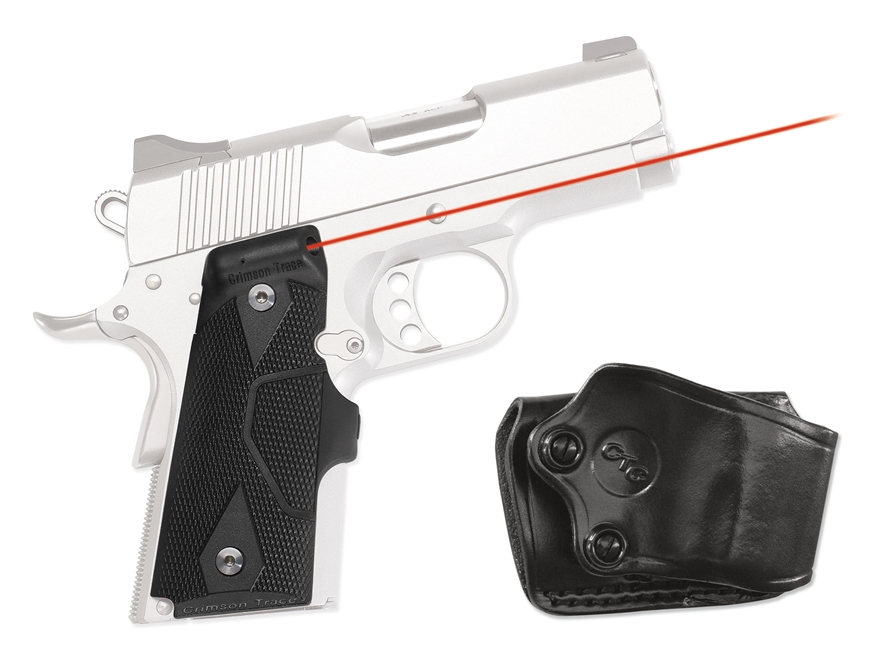 Crimson Trace Lasergrips 1911 Officer Front Activation Polymer Black with Gould & Goodr...