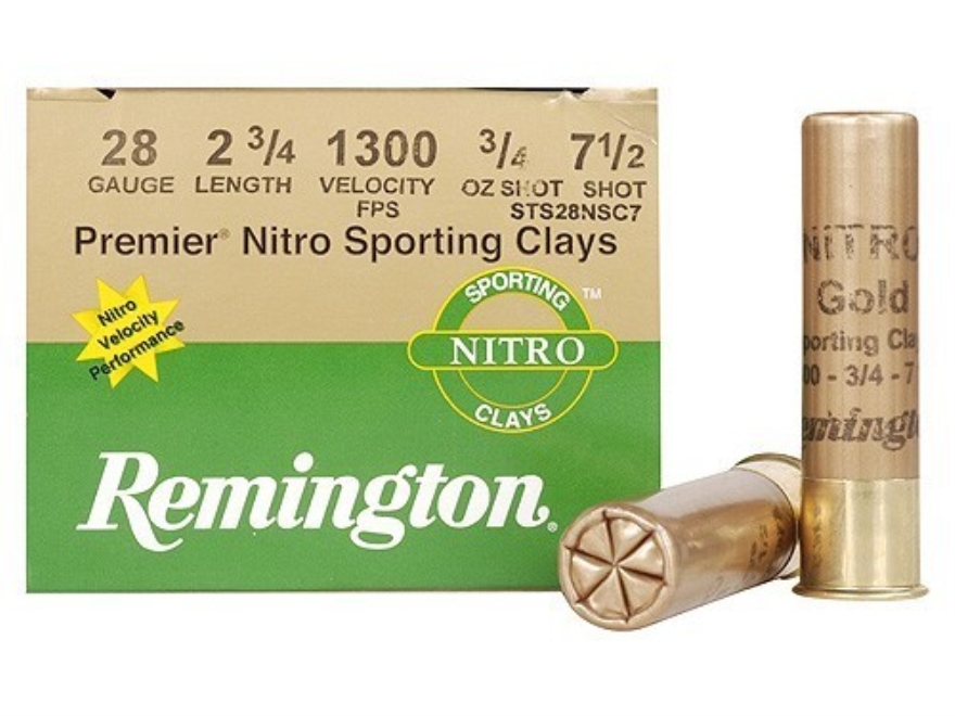 "Remington Premier Nitro Gold Sporting Clays Ammunition 28 Gauge 2-3/4"" 3/4 oz #7-1/2 Sh..."