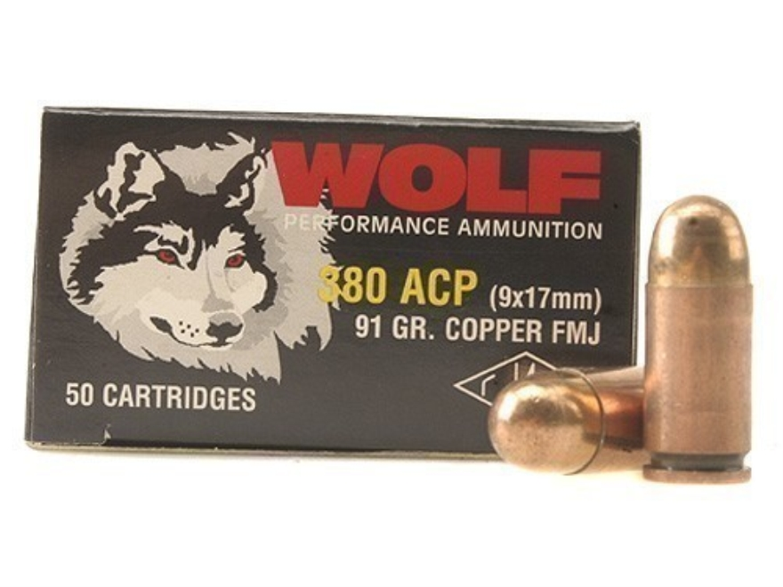 Wolf Ammunition 380 ACP 91 Grain Full Metal Jacket Steel Case Berdan Primed Box of 50