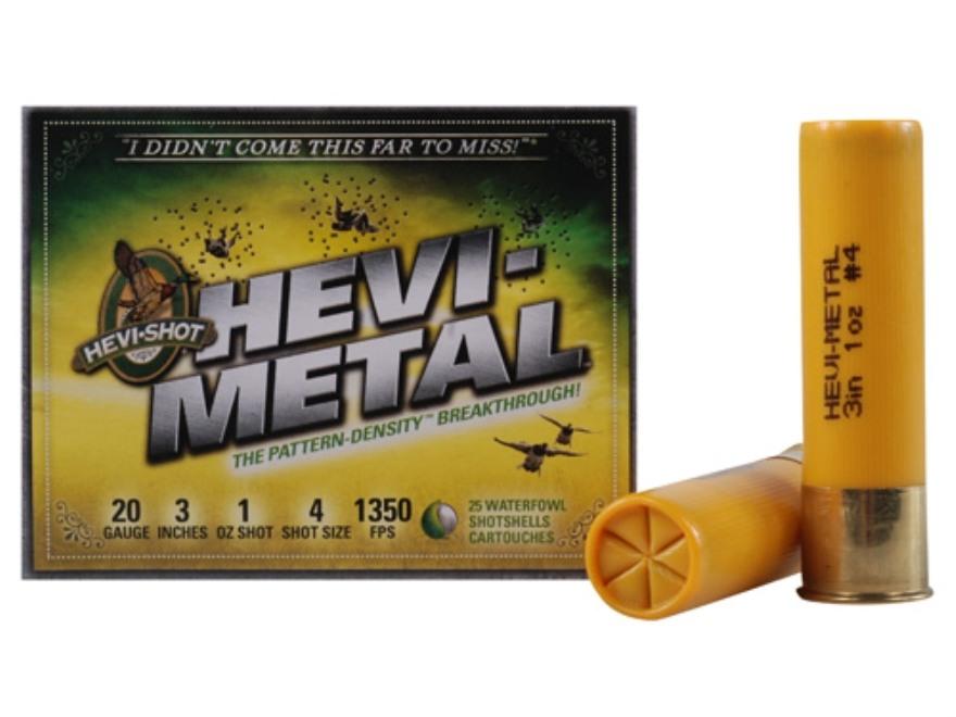 "Hevi-Shot Hevi-Metal Waterfowl Ammunition 20 Gauge 3"" 1 oz #4 Hevi-Metal Non-Toxic Shot"