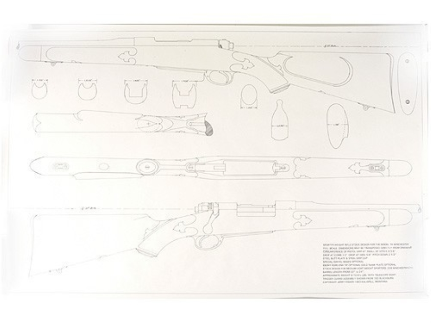 Jerry Fisher Stockmaker's Full Scale Mechanical Stock Drawing Model 70 Winchester Four ...