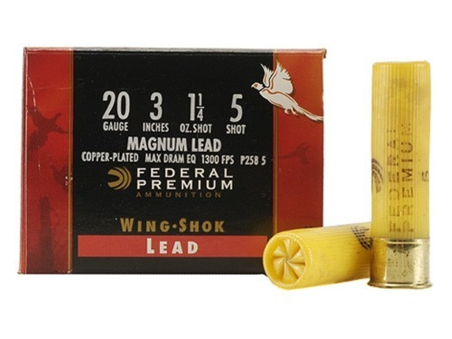 "Federal Premium Wing-Shok Ammunition 20 Gauge 3"" 1-1/4 oz Buffered #5 Copper Plated Sho..."