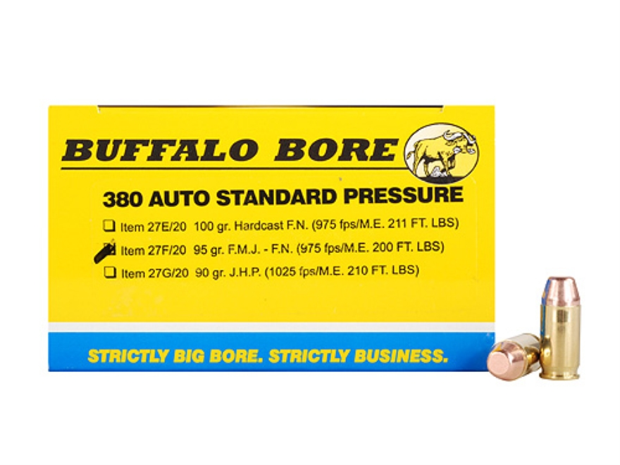 Buffalo Bore Ammunition 380 ACP 95 Grain Full Metal Jacket Box of 20