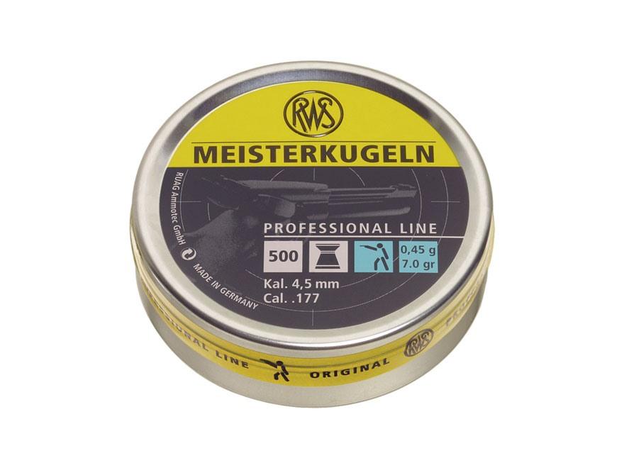 RWS Meisterkugeln Pistol Match Air Gun Pellets 177 Caliber 7.0 Grain Flat Nose Tin of 500