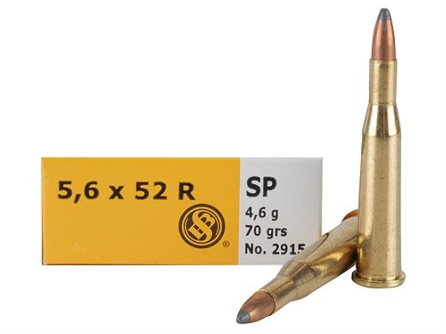 Sellier & Bellot Ammunition 5.6x52mm Rimmed (22 Savage High-Power) 70 Grain Soft Point ...