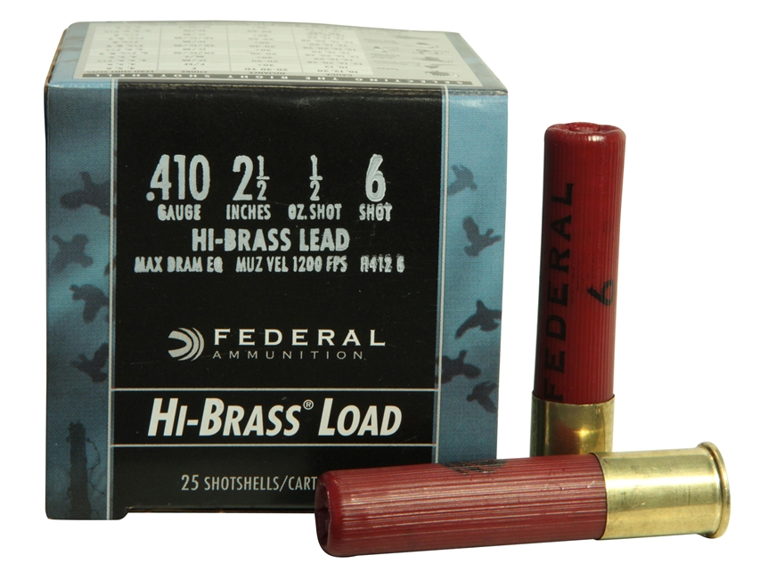 "Federal Game-Shok Hi-Brass Ammunition 410 Bore 2-1/2"" 1/2 oz #6 Shot Box of 25"