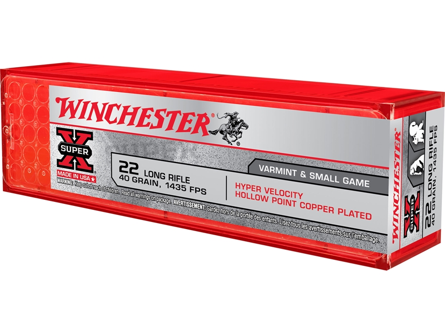 Winchester Hyper Speed Rimfire Ammunition 22 Long Rifle 40 Grain Plated Lead Hollow Poi...