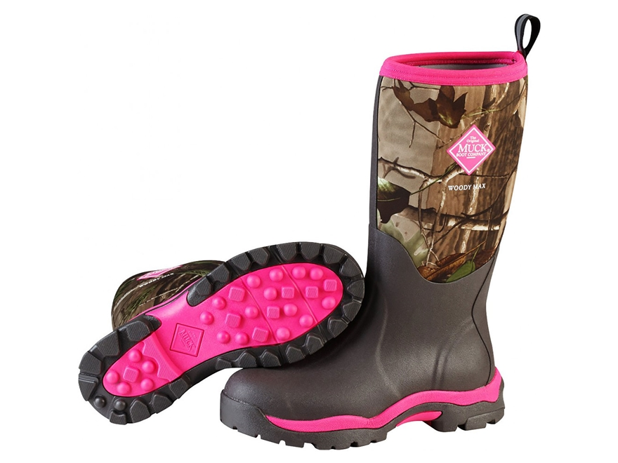 "Muck Woody 13"" Waterproof Insulated Hunting Boots Rubber/Nylon Realtree APG/Pink Women's"