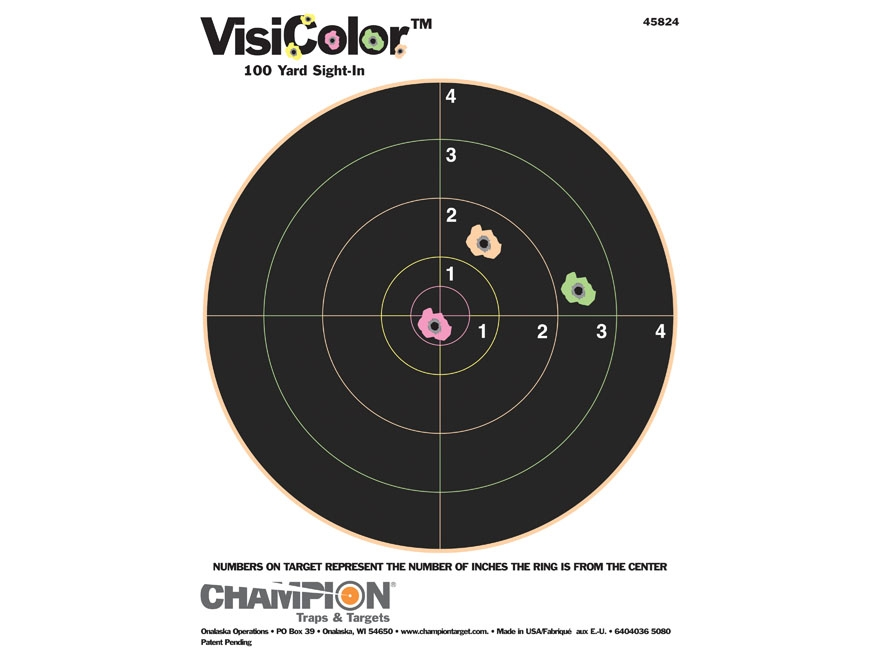 "Champion VisiColor 8"" Bullseye Targets 8.5"" x 11"" Paper Pack of 10"