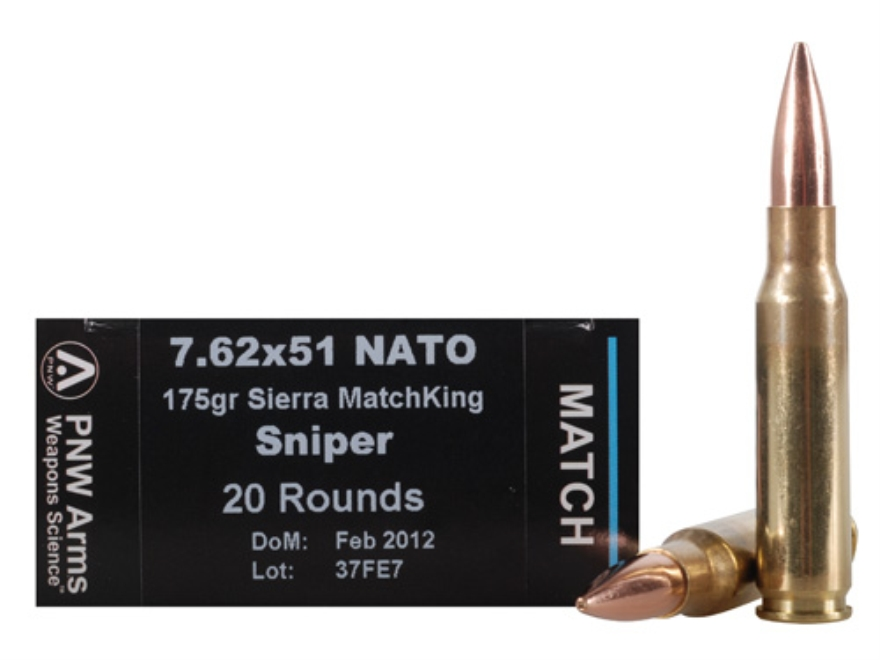 PNW Arms Match Ammunition 7.62x51mm NATO 175 Grain Sierra MatchKing Hollow Point Boat T...