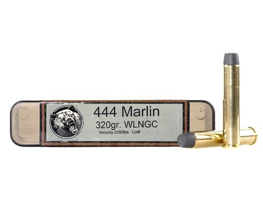 Grizzly Ammunition 444 Marlin 320 Grain Cast Performance Lead Wide Long Nose Gas Check ...