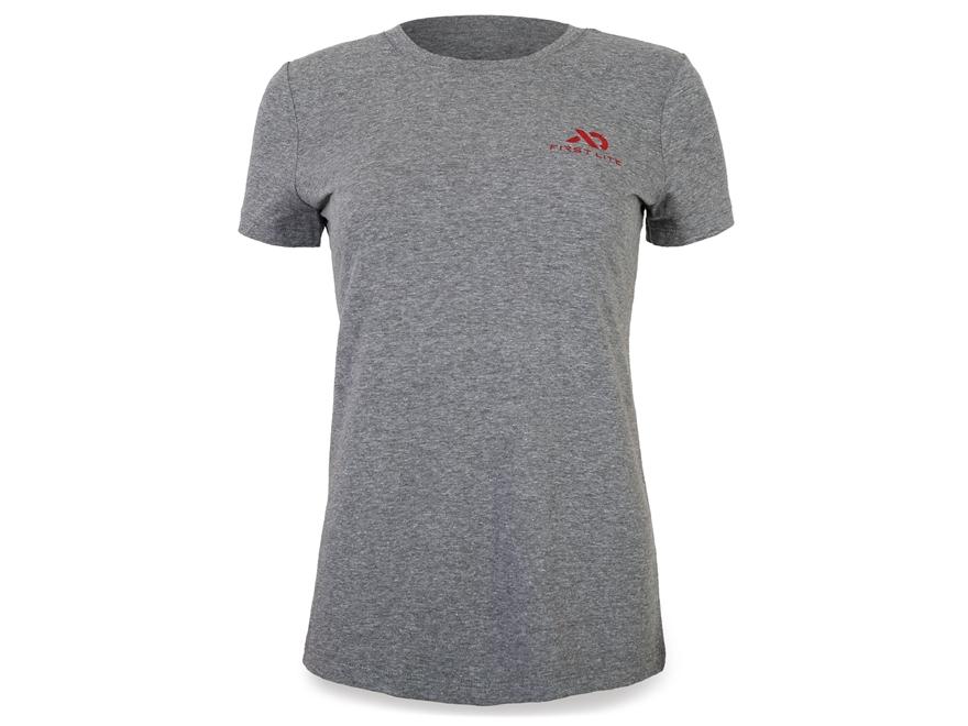 First Lite Women's Logo T-Shirt Short Sleeve Cotton Gray/Red 2XL