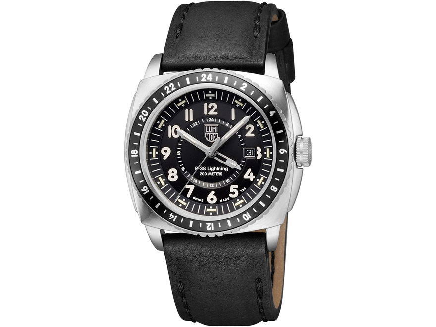 Luminox P-38 Lightning GMT Watch Stainless Steel/Leather Black