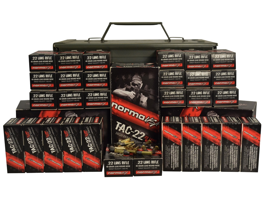 Norma USA TAC-22 Ammunition 22 Long Rifle 40 Grain Lead Round Nose Ammo Can of 3000