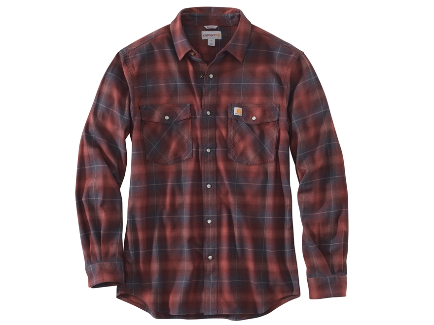 Carhartt Men's Rugged Flex Hamilton Snap Front Flannel Plaid Shirt Long Sleeve Cotton/S...