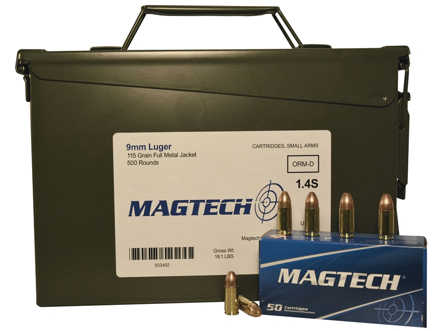 Magtech Sport Ammunition 9mm Luger 115 Grain Full Metal Jacket Ammo Can of 500 (10 Boxe...