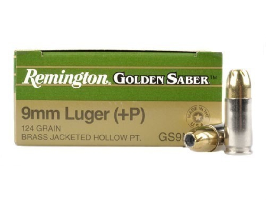 Remington Golden Saber Ammunition 9mm Luger +P 124 Grain Brass Jacketed Hollow Point Bo...