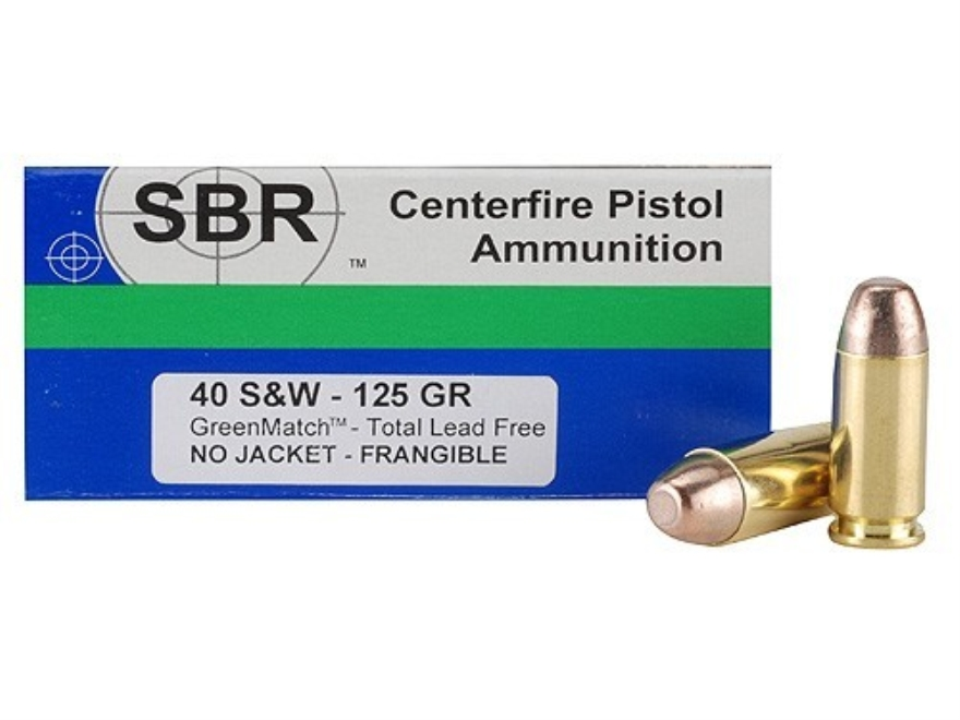 SBR GreenMatch Ammunition 40 S&W 125 Grain Frangible Lead Free Box of 50