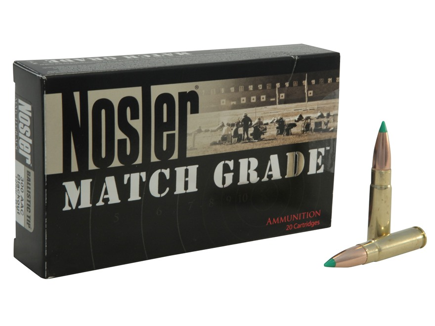 Nosler Match Grade Ammunition 300 AAC Blackout 125 Grain Ballistic Tip Box of 20