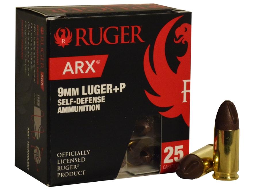 Ruger Self Defense Ammunition 9mm Luger +P 65 Grain Frangible PolyCase ARX Lead-Free