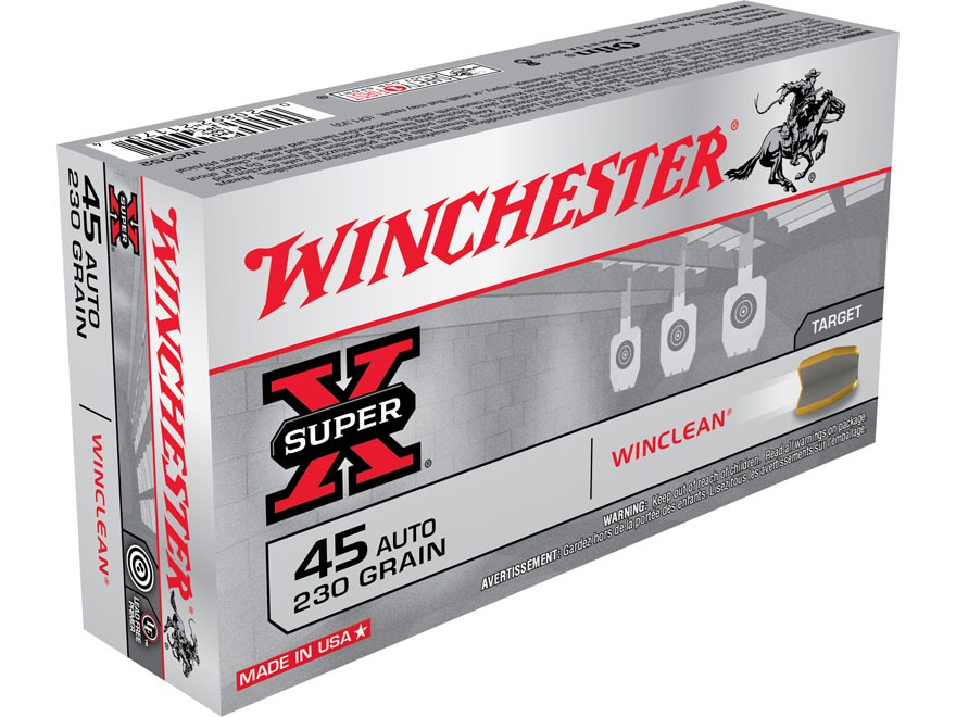 Winchester WinClean Ammunition 45 ACP 230 Grain Brass Enclosed Base Box of 50