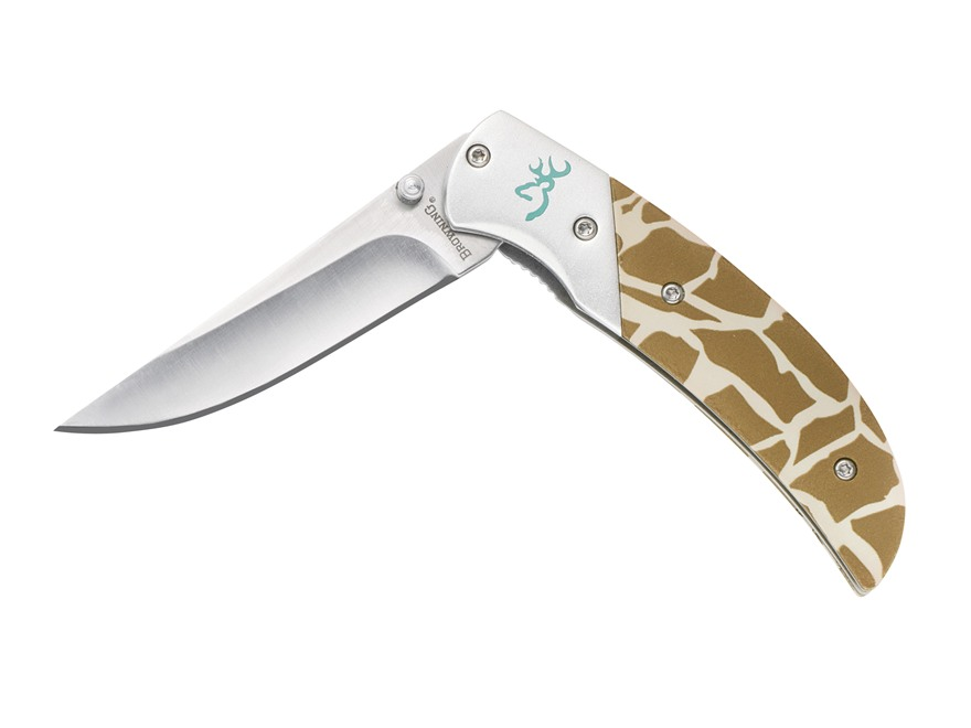 """Browning Safari Prism II Folding Knife 2.75"""" Drop Point 440A Stainless Steel Blade Alum..."""