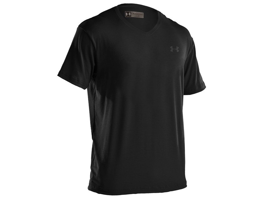 Under Armour Men's Charged Cotton V-Neck Undershirt Short Sleeve Cotton Blend Black Med...