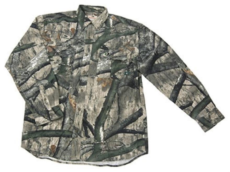 Russell Outdoors Men's Explorer Shirt Long Sleeve Cotton Polyester Blend Mossy Oak Tree...