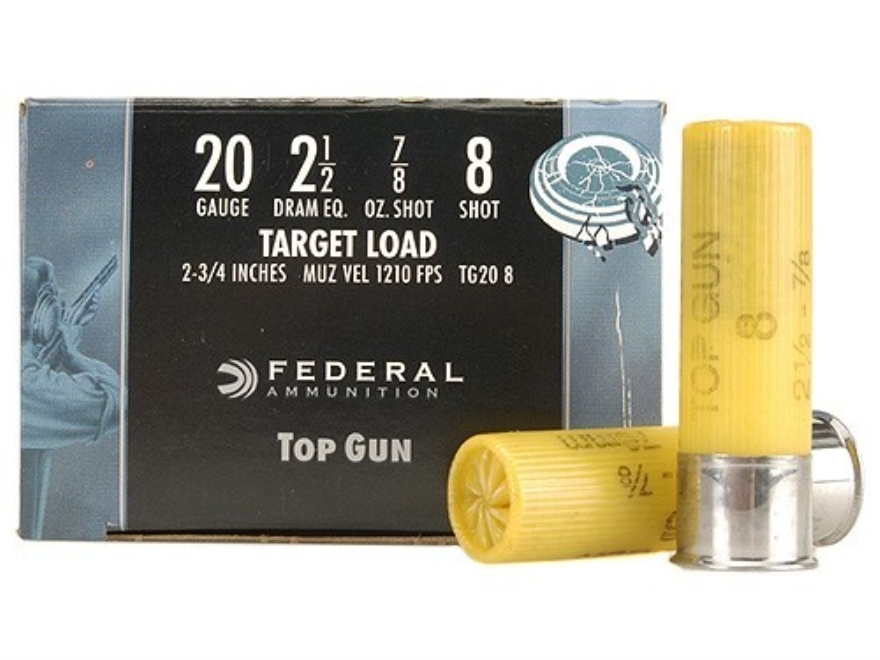 "Federal Top Gun Ammunition 20 Gauge 2-3/4"" 7/8 oz #8 Shot"