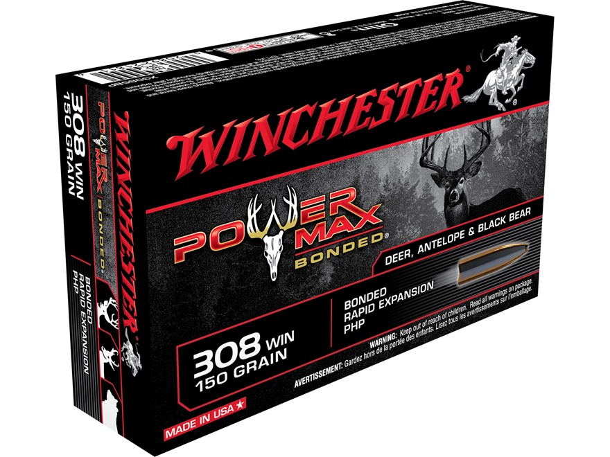 Winchester Power Max Bonded Ammunition 308 Winchester 150 Grain Protected Hollow Point ...