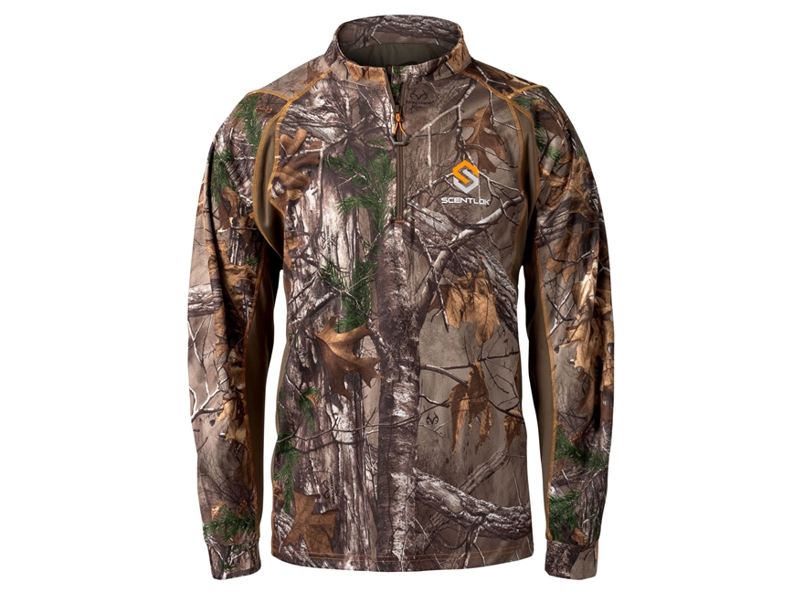Scent-Lok Men's Attack 1/4 Zip Shirt Long Sleeve Polyester
