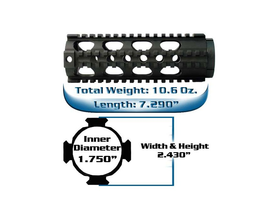 Yankee Hill Machine Free Float Tube Handguard Lightweight Quad Rail AR-15 Carbine Lengt...