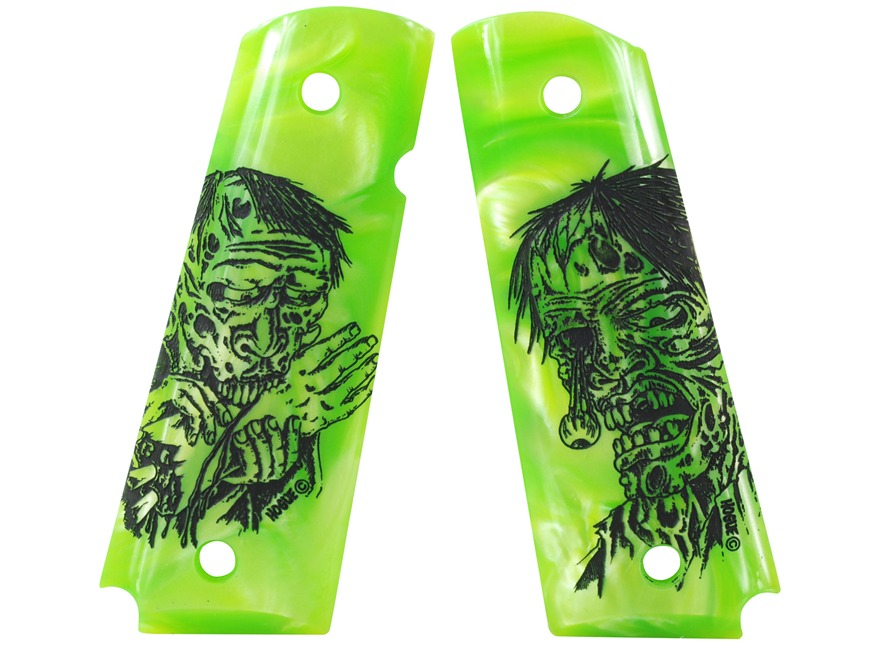 Hogue Grips 1911 Government, Commander Ambidextrous Safety Cut Pearlized Polymer Zombie...