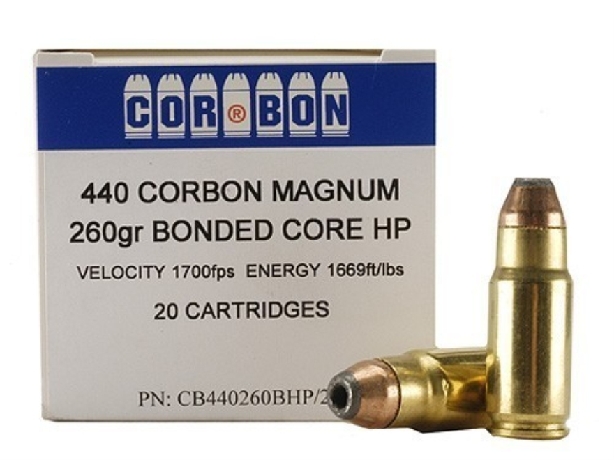 Cor-Bon Hunter Ammunition 440 Cor-Bon 260 Grain Bonded Core Hollow Point Box of 20