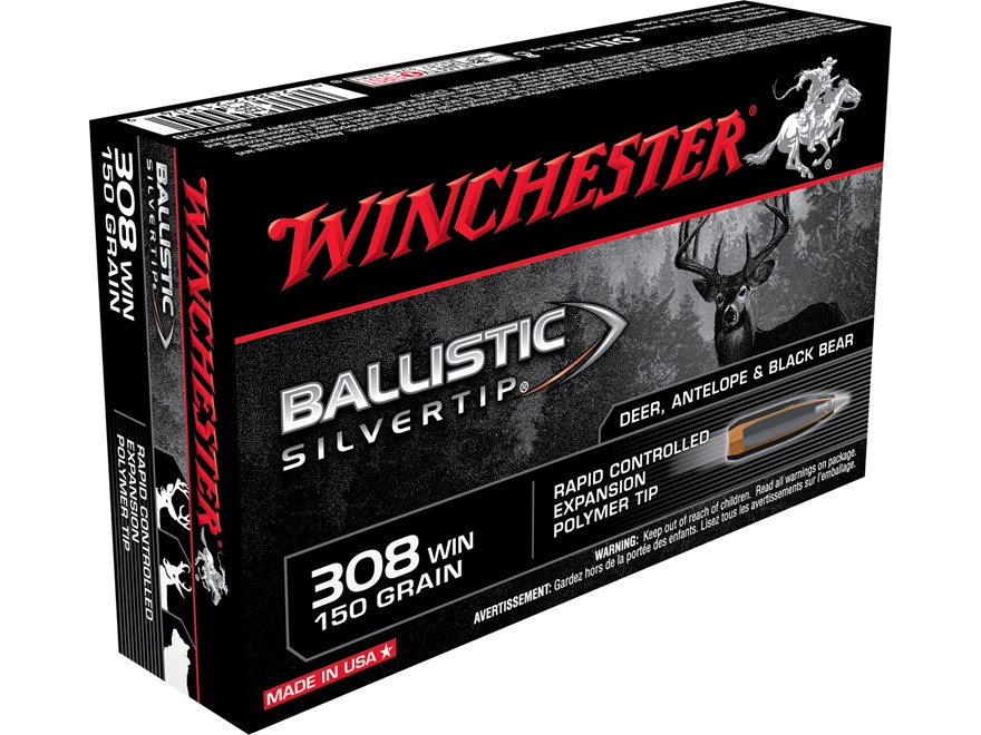 Winchester Ballistic Silvertip Ammunition 308 Winchester 150 Grain Rapid Controlled Exp...