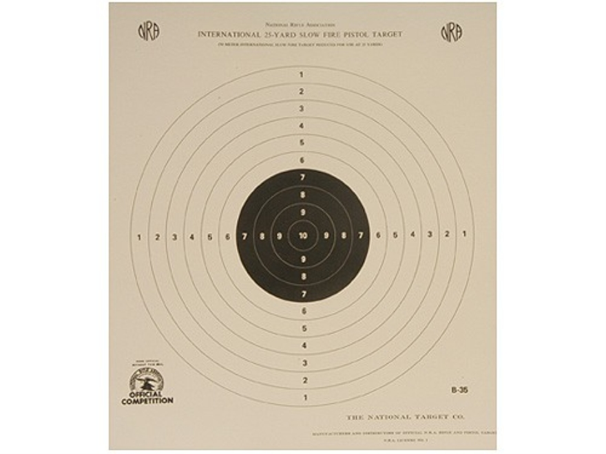 NRA Official International Pistol Targets B-35 25 Yard Free Pistol Paper Package of 100