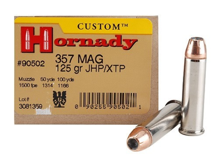 Hornady Custom Ammunition 357 Magnum 125 Grain XTP Jacketed Hollow Point Box of 25