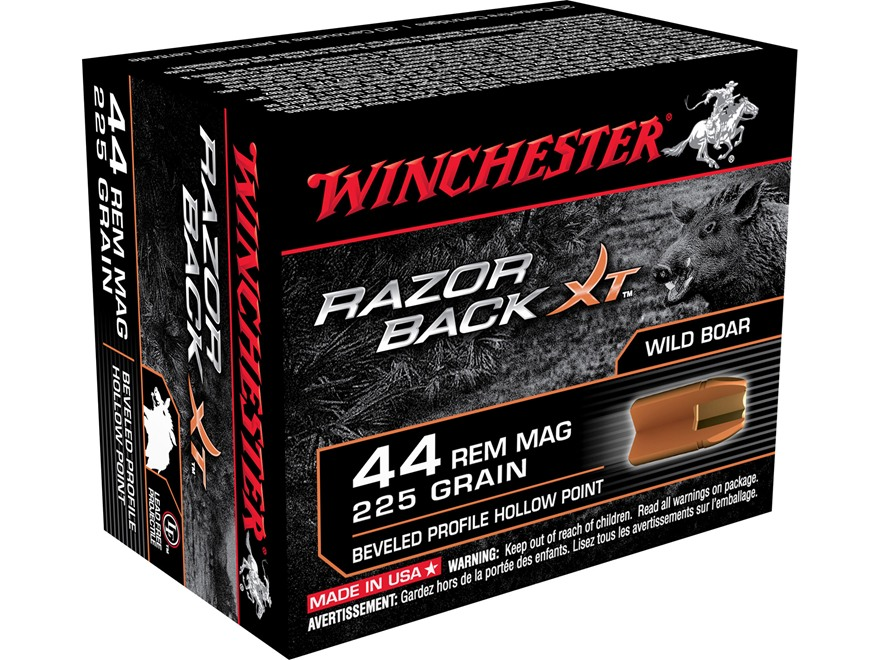 Winchester Razor Boar XT Ammunition 44 Remington Magnum 225 Grain Hollow Point Lead-Free