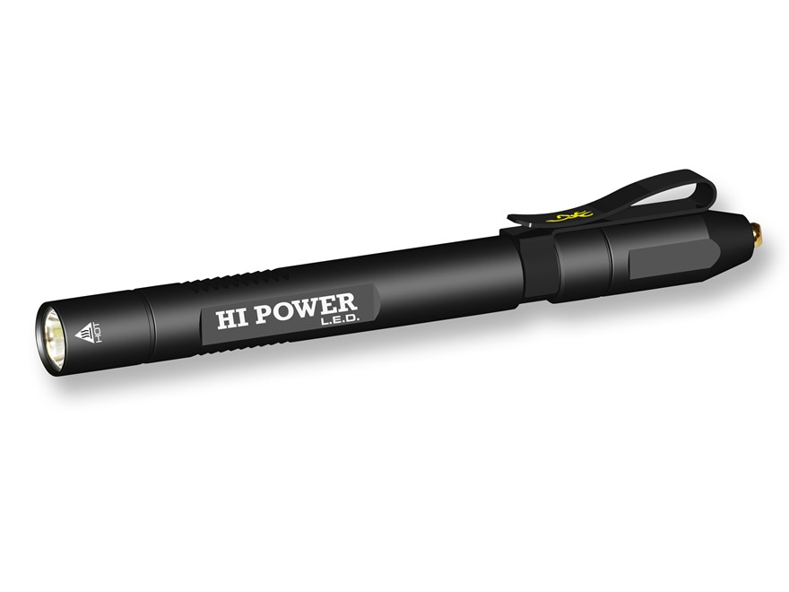 Browning Hi Power Pen Light Flashlight LED with 2 AAA Batteries Aluminum Black