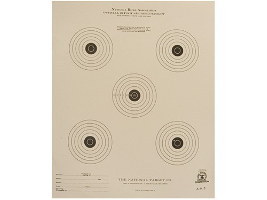 NRA Official Air Rifle Targets A-44/5 15' Air Rifle Paper Package of 100