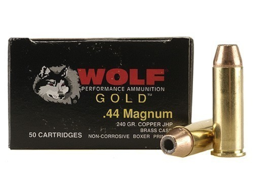 Wolf Gold Ammunition 44 Remington Magnum 240 Grain Jacketed Hollow Point Box of 50
