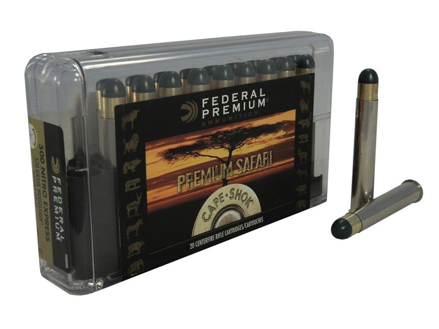Federal Premium Cape-Shok Ammunition 500 Nitro Express 500 Grain Woodleigh Hydrostatica...