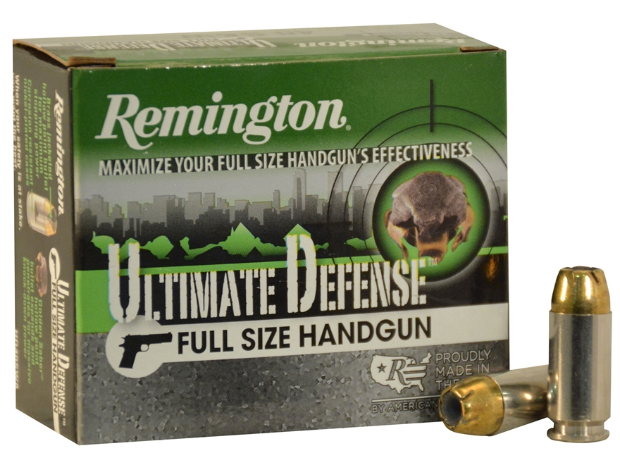 Remington HD Ultimate Defense Ammunition 40 S&W 165 Grain Brass Jacketed Hollow Point B...