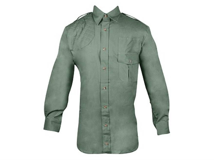 Boyt Men's Shumba Shell Loop Safari Shirt Long Sleeve Cotton Poplin Green Large 42-44