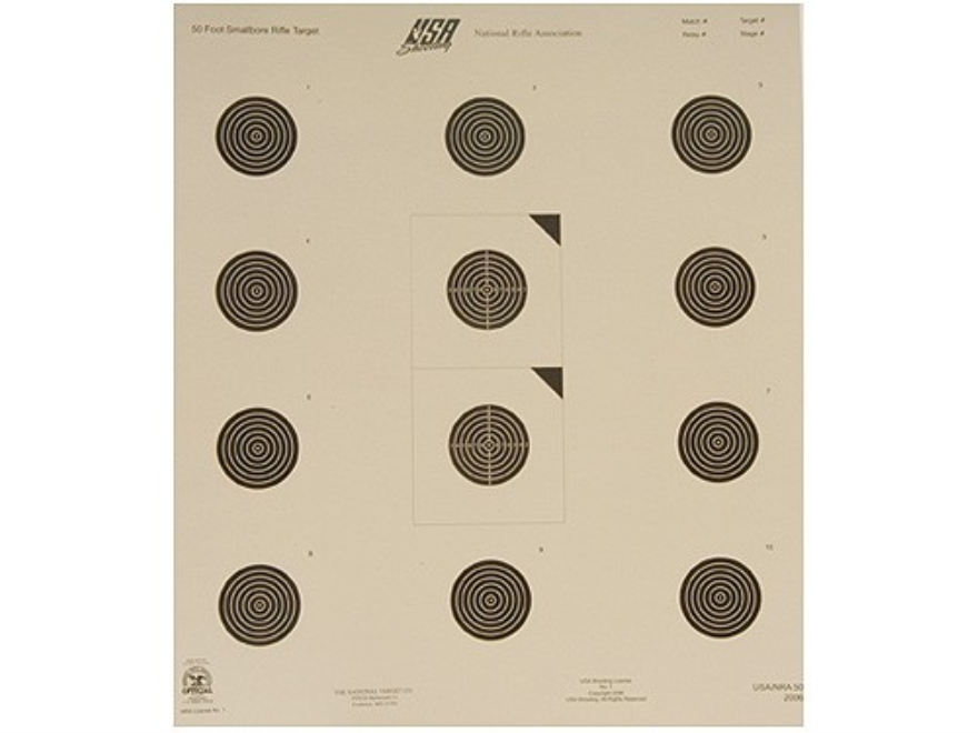 NRA Official USA Shooting Smallbore Rifle Targets USA-50 50' Paper Pack of 100